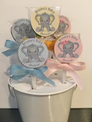 15 Baby Elephant Baby Shower Personalized Lollipops pink, Blue or yellow