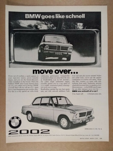 1970 BMW 2002 Coupe vintage print Ad