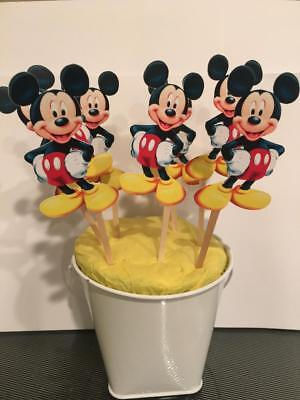 12 Mickey Mouse Cupcake Toppers - Mickey Mouse Cupcake