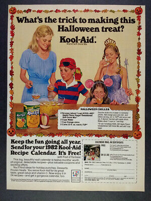 1981 Kool-Aid Drink Mix Halloween Chiller Recipe vintage print Ad - Vintage Halloween Recipes