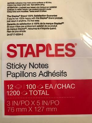 Staples Yellow Post It Notes - 3 X 5 100sh12 Pd