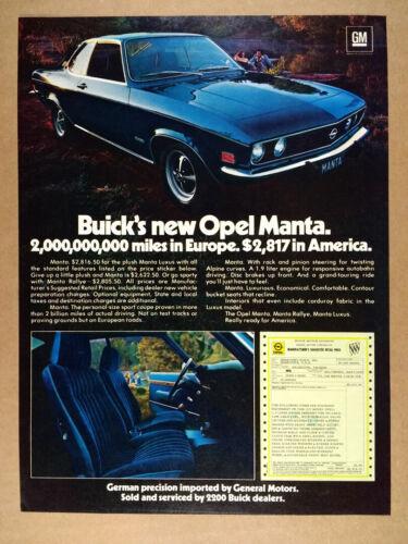 1973 Opel Manta Luxus Coupe color photos vintage print Ad