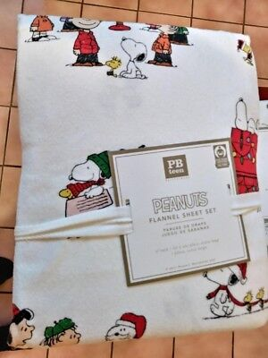 $129 Pottery barn Peanuts Snoopy xl TWIN SHEET SET Holiday dog tree Christmas NT