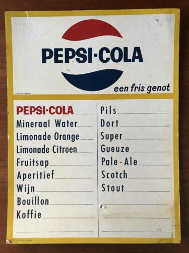 Vintage Antique PEPSI COLA Advertising Sign Menu Board Foreign Dutch UNUSUAL!