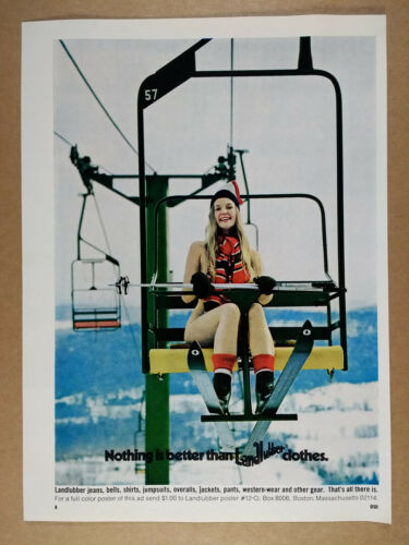 1972 Landlubber Jeans Pants woman skier chairlift photo vintage print Ad