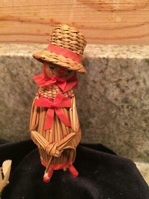 Vintage Woven Twig Straw Circus Clown with Top Hat Figure Figurine 4.5