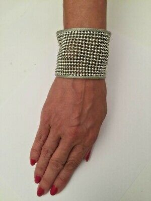 .925 SS PLATED CUFF BRACELET 50 MM WIDE WITH 3 MM BEADS IN MESH DESIGN J 403 ()