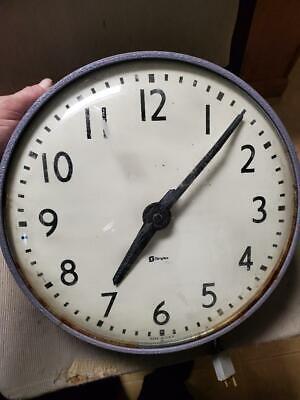 "Vintage Simplex Glass Dome Industrial School Wall Clock 13"" - grey metal base"