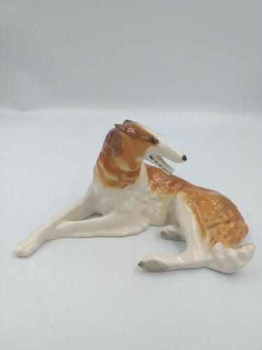 "Vintage Porcelain Figurine ""Greyhound"" LFZ USSR"