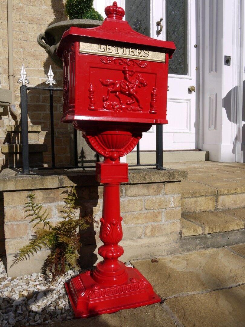 Casella Postale su cavalletto Alluminio Rosso Decorativo Cassetta Della