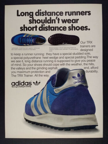 1981 Adidas TRX Trainer Running Shoes vintage print Ad