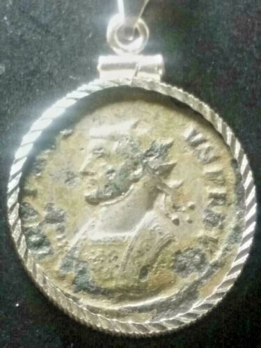 Probus Chariot Silvered Ant Ancient Roman Coin Pendant Sterling Bezel Necklace