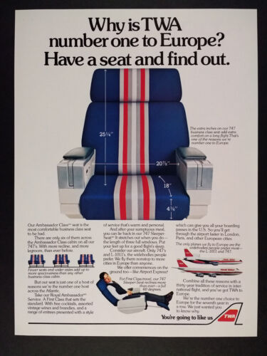 1982 TWA Airlines 747 Business Class Seat vintage print Ad