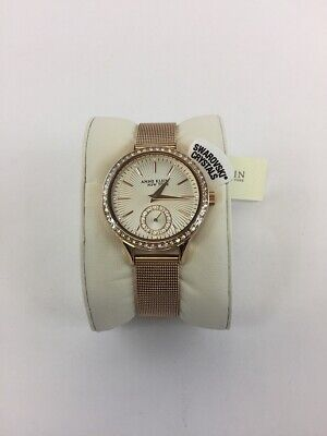 Anne Klein Ladies 12/2306SVRG Crystal Accented Rose Gold-Tone Mesh Band Watch