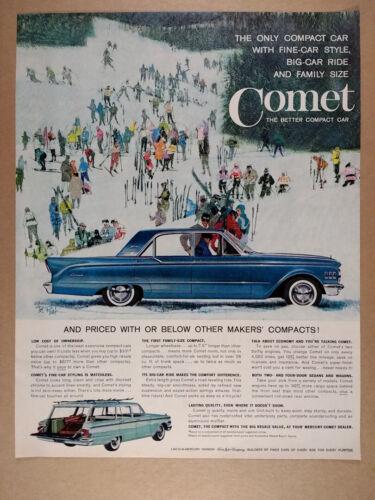 1961 Bob Peak skiers skiing art Mercury Comet Sedan vintage print Ad