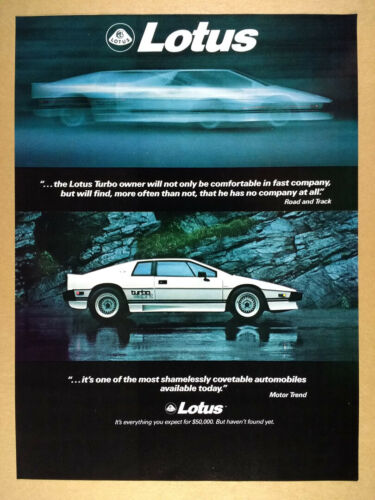 1986 Lotus Turbo Esprit white car photo vintage print Ad