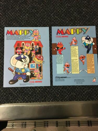 2 1983 BALLY/MIDWAY FACTORY ORIGINAL FLYERS TO PROMOTE THE MAPPY VIDEO GAME