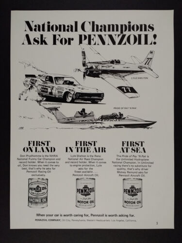 1974 Pennzoil Oil Funny Car Air Race Hydroplane Champions vintage print Ad