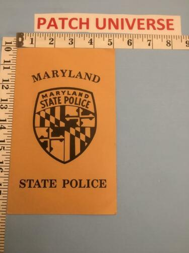 OFFICIAL BOOKLET OF THE MARYLAND STATE  POLICE INCLUDES  PATCH    A014
