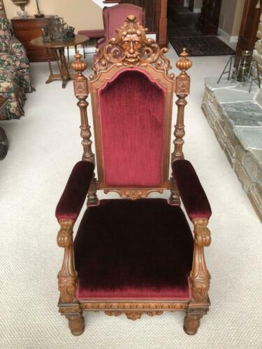 Antique Hand Carved Walnut Upholstered Gothic Throne Chair