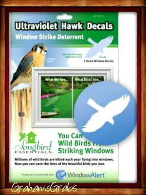 WINDOW ALERT 2 ULTRAVIOLET HAWK DECALS Prevent Window Strikes PROTECT WILD BIRDS