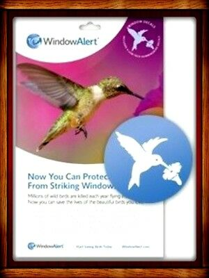 "WINDOW ALERT DECALS (4) 4"" HUMMINGBIRD DECALS SAVE BIRDS PREVENT WINDOW STRIKES"