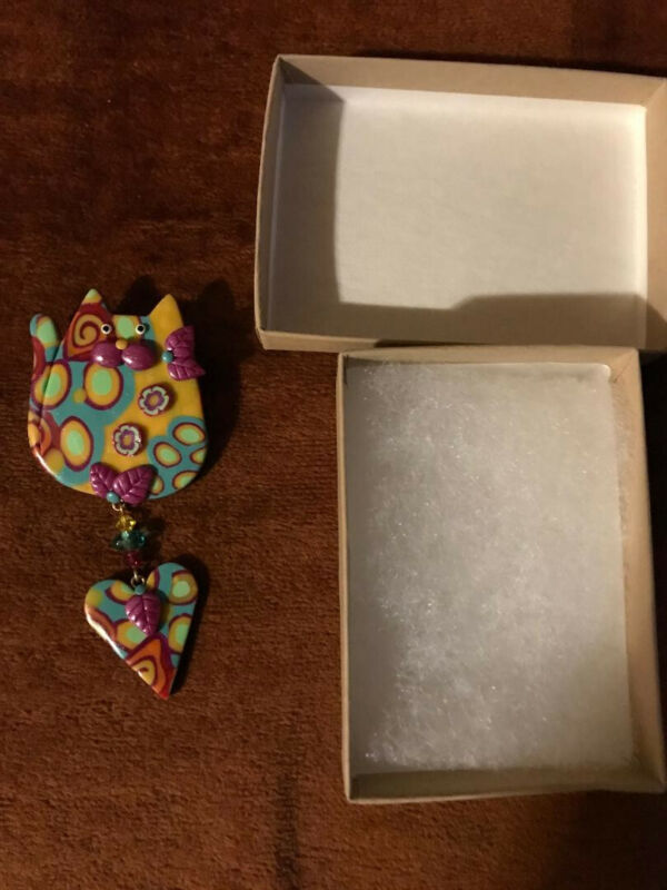 Polymer Clay Handcrafted Cat Pin W/Crystals & Dangling Heart-New