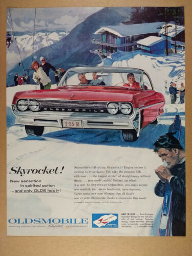 1961 Oldsmobile Super 88 Coupe red car skiers skiing art vintage print Ad