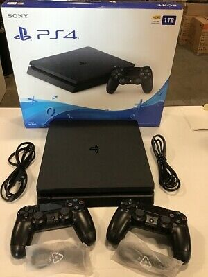1TB Sony Playstation 4 SLIM Black Video Game Console PS4 System 2-CONTROLLERS