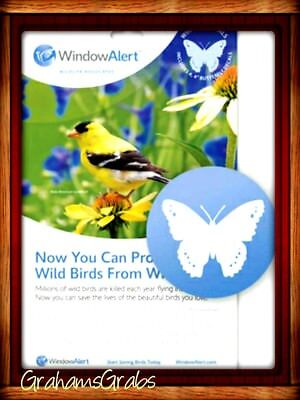 "WINDOW ALERT DECALS (4) 4"" BUTTERFLY DECALS SAVE BIRDS PREVENT WINDOW STRIKES"