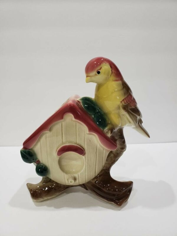 "Vintage Royal Copley Bird on Birdhouse Planter Figurine 81/4"" x 71/2"""