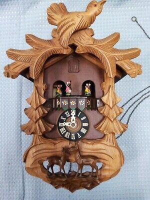 Vintage West German E. Schmeckembecher Cuckoo Clock With Figures And Bird #657