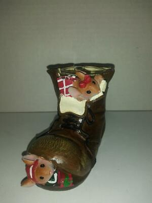 Yankee Candle Tea Light Candle Holder Mice Boot 1207740 Christmas Holiday Mouse