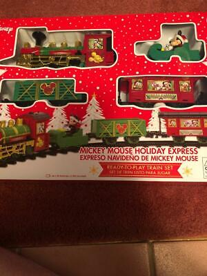DISNEY MICKEY MOUSE HOLIDAY EXPRESS TRAIN AGE 8+ LIGHT SOUND 9 FT.OF TRACK-NEW