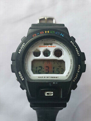 Rare vintage Casio G Shock Resist Chronograph Bathing Ape DW-6900 Sports Watch