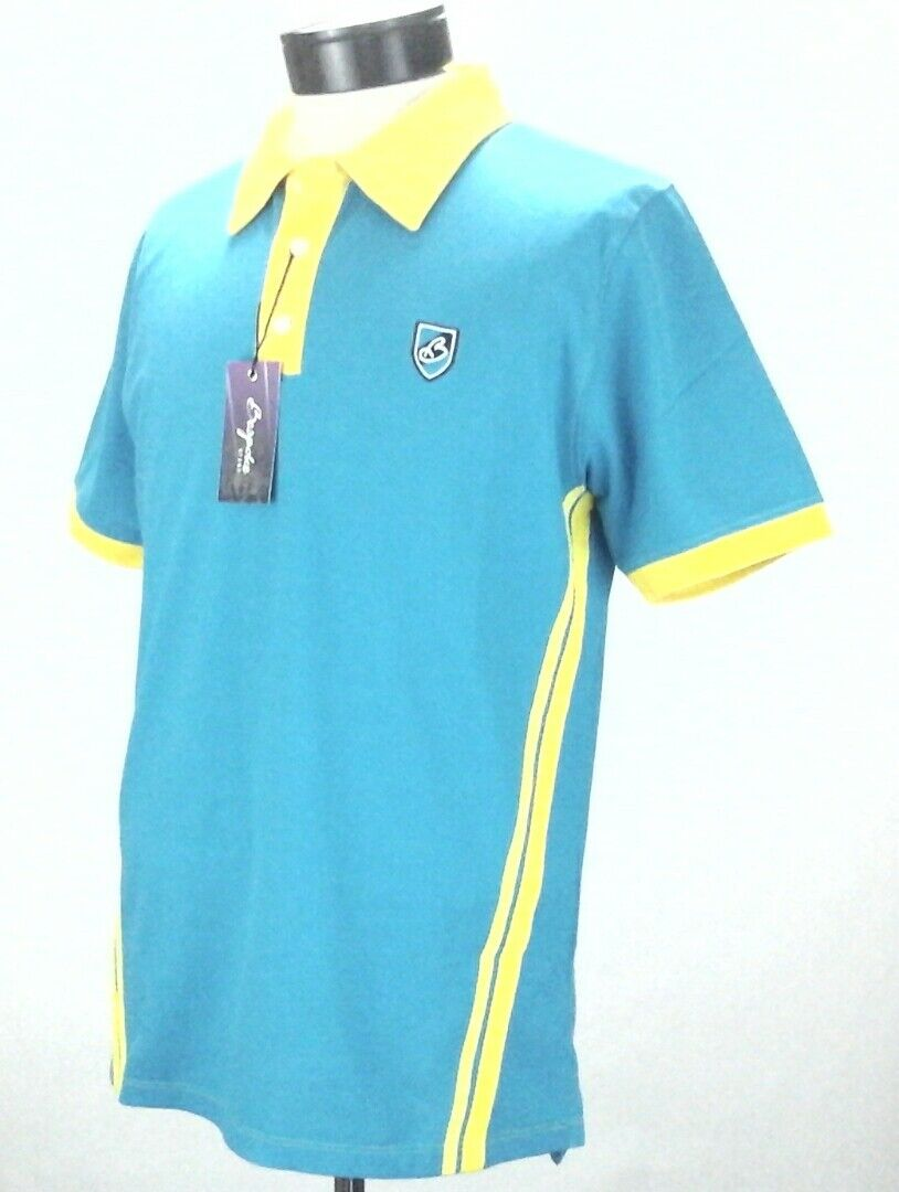 Bespoke Sports Polo Shirt Turquoise Blueyellow Pique Slim Fit Top