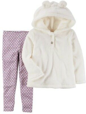 Carter's Baby Girl Fuzzy White Hoodie w/ Ears & Metallic Legging 2pc Set NWT $24