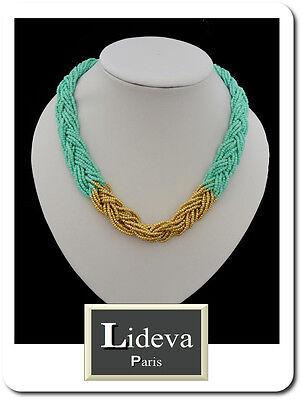 Collar Cadena Perlas Cristal Korallenperlen Trenzada Choker