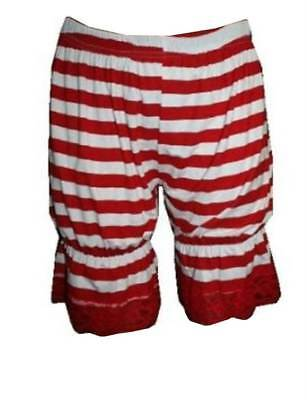 Red And White Striped Short Bloomers Pants Halloween Costumes Fancy Dress Theme