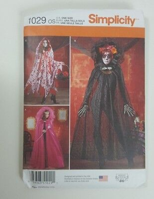 Simplicity 1029 Pattern Cape Hood Costume Cosplay Halloween Miss One Size Goth