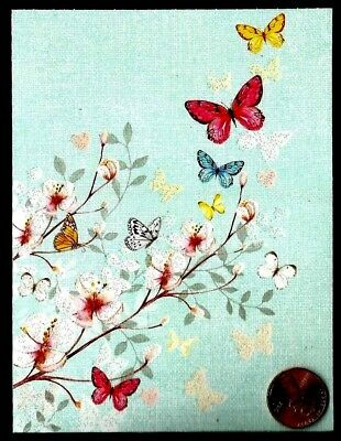 Pretty Cherry Blossom Branch Butterflies GLITTERED Small Blank Note Card - NEW