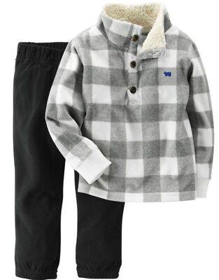 Carter's Boys Gray & White Sherpa Fleece Pullover & Gray Pan