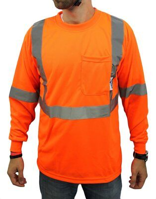 High Visibility Long Sleeve Safety Shirt Reflective New Orange Small To Xl