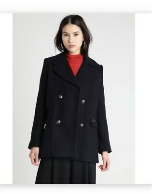 NEW SUPERDRY MILITARY PEA COAT RRP£149.99 SIZE SMALL 8-10 WOMENS BLUE BNWT
