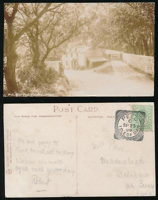 Tt Peel (ISLE of MAN PEEL 1908 GLENFABA COTTAGE REAL PHOTO CARD..Message TT Race)