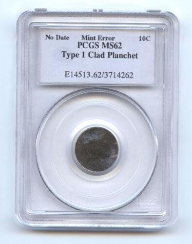 Nd Dime (10c) Type 1 Clad Planchet- No Date-pcgs Ms62-rare-mint Error