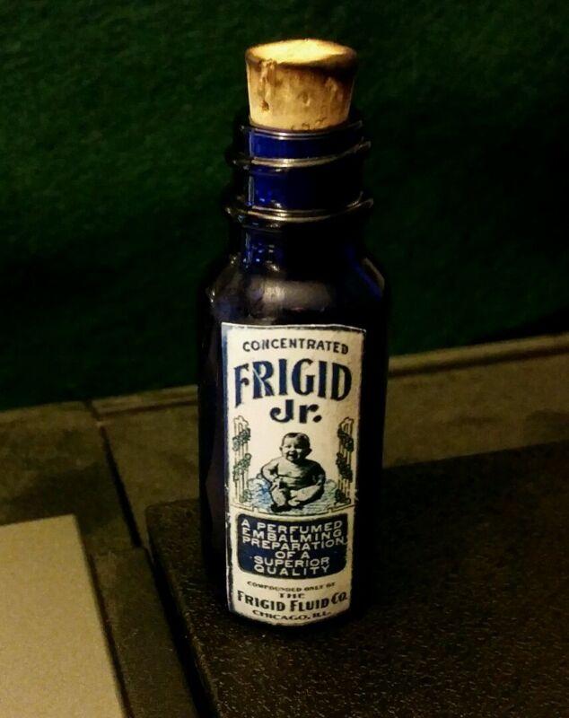 Vintage Style Frigid Jr. Embalming Fluid  Small Blue Glass  Bottle..by Artist