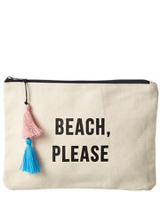 Fallon & Royce Womens  Beach Please Canvas Makeup Bag, Beige