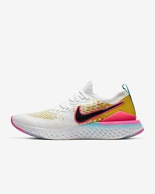 Mens Nike Epic React Flyknit 2.0 Running Shoe - Size UK 10 WHITE CITRON