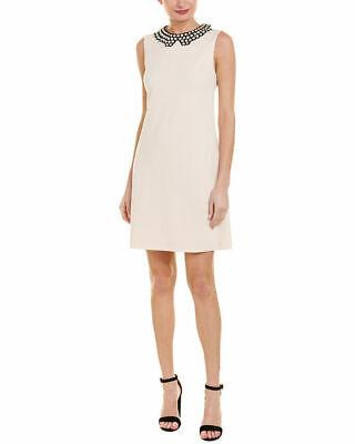 - Betsey Johnson Women's Pearl Collar Scuba Crepe Dress, Almond 12